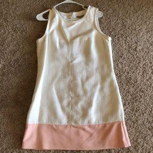 Banana republic white and pink color block dress